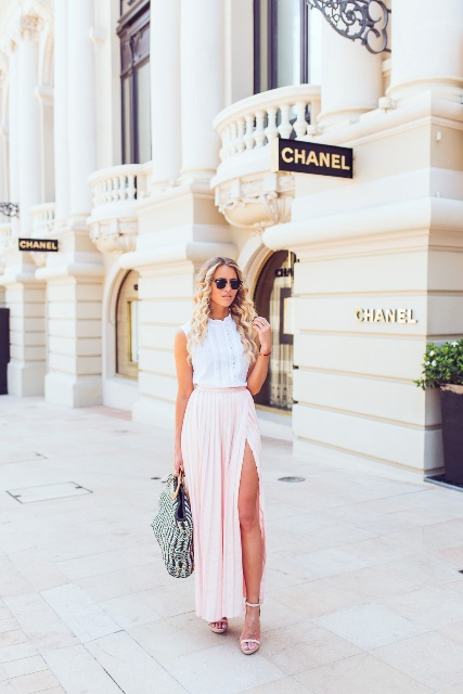 With white blouse, printed tote and ankle strap shoes