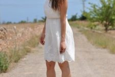 With white lace dress