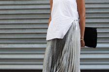 cute maxi skirt plus sneakers look