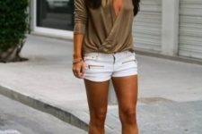 With white mini shorts and gray shoes