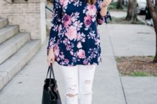 With white pants, gray suede shoes and black tote
