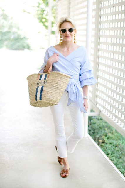 With white pants, straw bag and shoes
