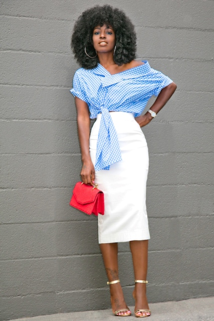 With white pencil skirt, red bag and golden high heels