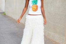 With white ruffled maxi skirt