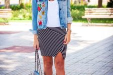 With white top, denim jacket, white sneakers and black bag