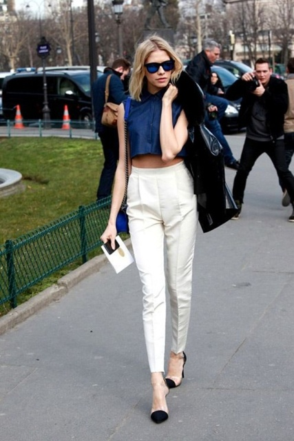 With white trousers, high heels and jacket