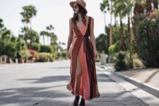 With wide brim hat and flat shoes