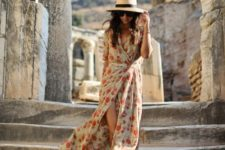 With wide brim hat and lace up sandals