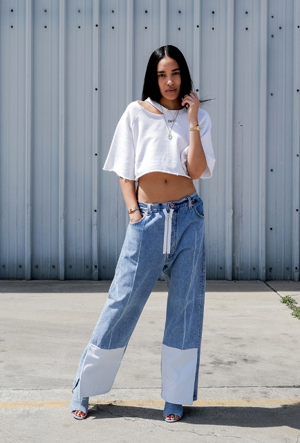 With wide leg jeans and denim shoes
