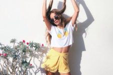 yellow shorts outfit for summer