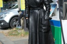 02 a black leather midi dress wit pockets and white heels for a bold fall look