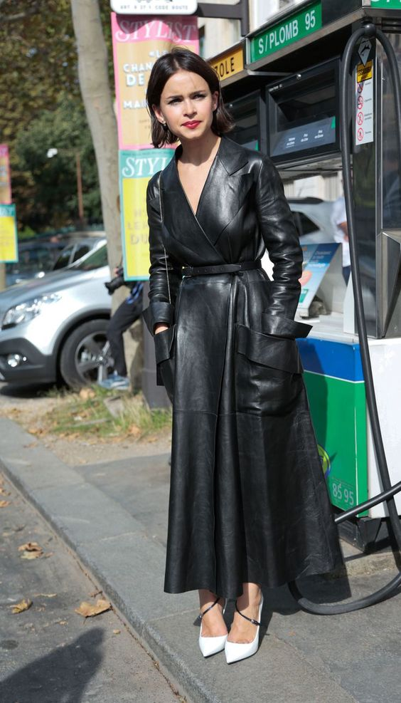 a black leather midi dress wit pockets and white heels for a bold fall look
