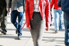 02 a checked shirt, a red leather jacket, a grey pencil midi skirt, black boots