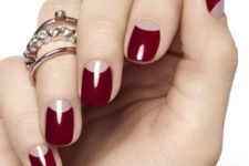 02 a classic half moon burgundy manicure for an elegant and refined touch to your look