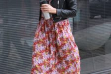 layered look with a floral dress