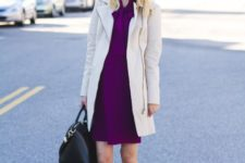 02 a stylish and bold work outfit with a fuchsia over the knee dress, a white trench, black booties and a bag