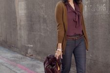 02 grey printed cropped pants, a plum-colored blouse, a rust-colored cardigan and matching shoes, a plum bag