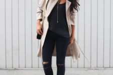03 a black top, black ripped denim, leopard boots, a neutral trench for the fall