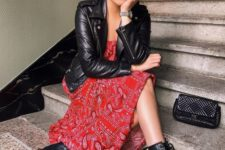 03 a bold red printed dress, a black leather jacket and black combat boots for a cool look