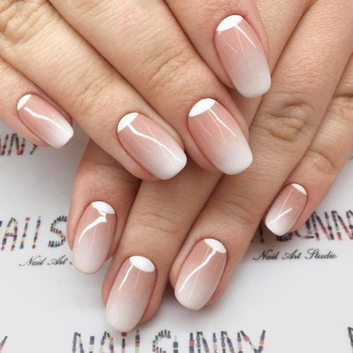 a reverse French manicure with an ombre touch is a very subtle option