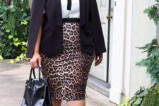 03 a white shirt, a leopard pencil skirt, a black jacket, black heels and a bag