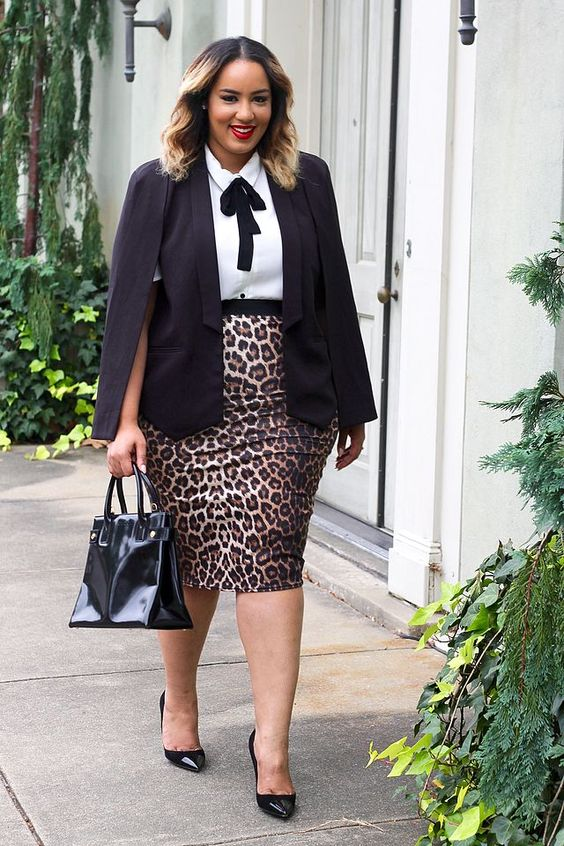 a white shirt, a leopard pencil skirt, a black jacket, black heels and a bag