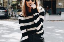 03 tweed pants, a striped sweater and a black cabbie hat is a trendy look for fall