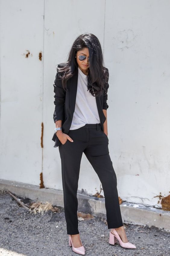 a black pantsuit, a white tee, blush shoes for a casual chic work outfit