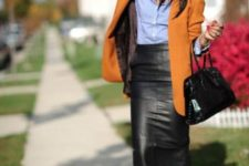 04 a blue shirt, a black leather midi pencil skirt, a mustard long blazer and black heels