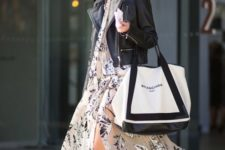 04 a neutral floral print maix dress with a slit, a black leather jacket, white sneakers and a shopper