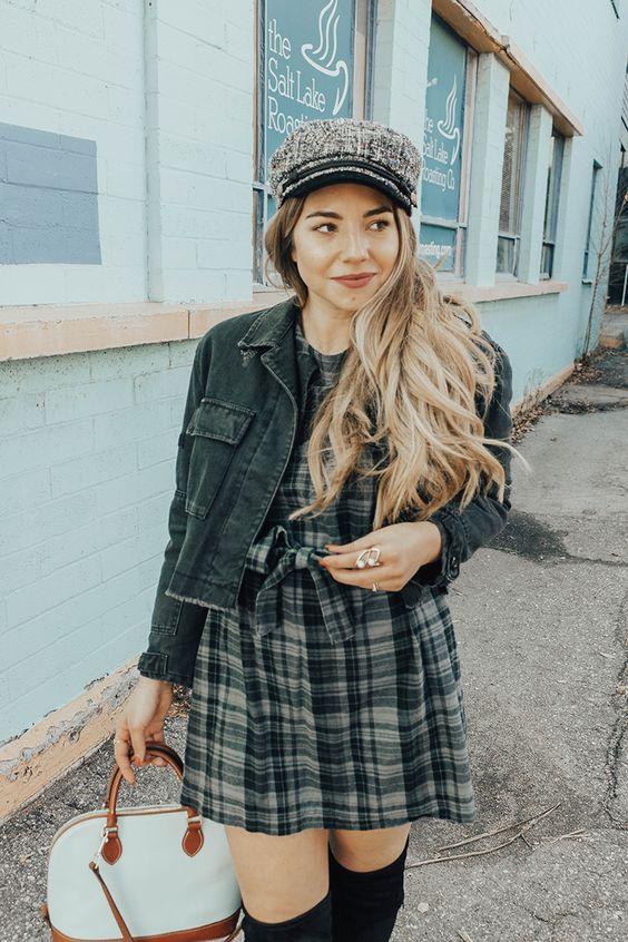 a plaid dress, a denim jacket, a tweed cabbie hat and a comfy bag for a preppy look
