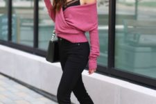 04 black pants, flats, a spaghetti strap top with sheer inserts and a dusty pink off the shoulder sweater