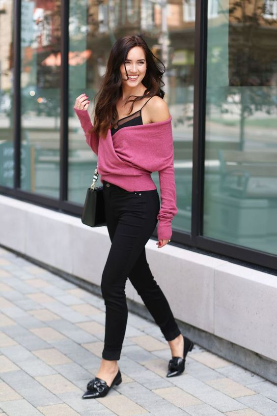 black pants, flats, a spaghetti strap top with sheer inserts and a dusty pink off the shoulder sweater