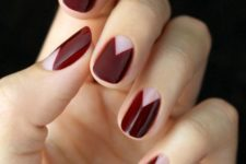 04 burgundy geometric half moon manicure is a trendy idea for the fall