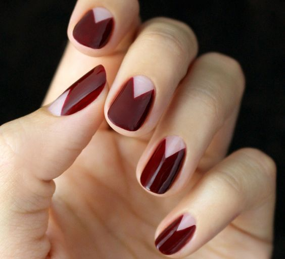 burgundy geometric half moon manicure is a trendy idea for the fall