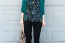 05 a casual work look with a printed dark shirt, a teal cardigan, blakc pants and shoes