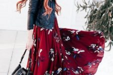 05 a deep burgundy floral maxi dress, a black leather jacket, a black bag and brown booties