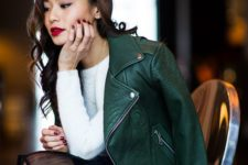 05 a green leather jacket, a white sweater, a black skirt with a sheer part and a red lip for a date