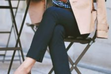 05 a preppy look with navy pants, a checked shirt, a tan trench and lopard moccasins