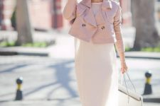 05 a white airy dress, a pink cropped leather jacket, white sneakers and a white bag