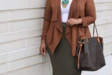 05 an olive green pencil skirt, a white top, brown strappy heels, a brown cardigan