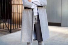 05 grey jeans, an off-white top, a grey coat and black heels for a simple modern look