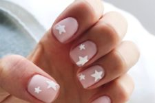 05 matte nude nails with white stars for a statement