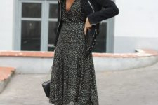 06 a black gold dotted midi dress, a black jacket, black tall boots for a wow look