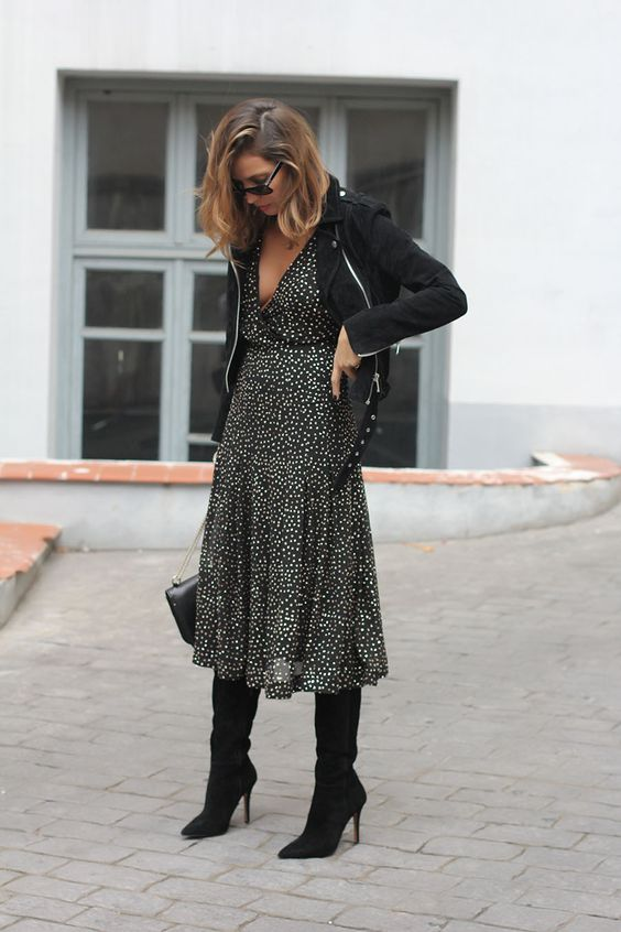 a black gold dotted midi dress, a black jacket, black tall boots for a wow look