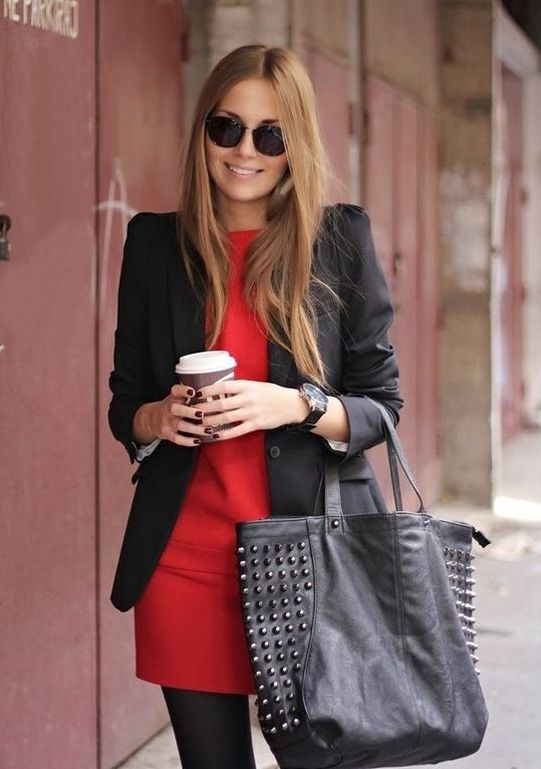a hot red sheath dress, a black blazer and a black bag for a cool and simple look