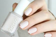 06 a white manicure with copper tips is a modern and fresh idea instead of a traditional combo