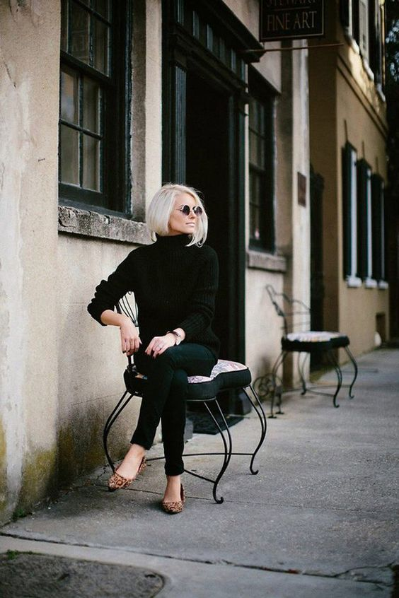 black jeans,a black sweater, lopard flats for a simple yet trendy fall look