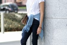 06 pink sneakers, navy jeans, a white tee, a tan bag, a chambray shirt