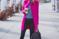 07 a casual work outfit with a blue shirt and navy skinnies, emerald flats and a hot pink coat